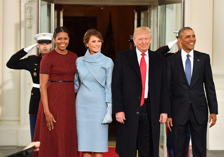 Former first lady Michelle Obama and former president Barack Obama and the current president and first lady on inauguration day 2017. (Photo: Getty Images)