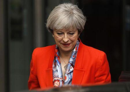 Britain's Prime Minister Theresa May leaves the BBC, in London