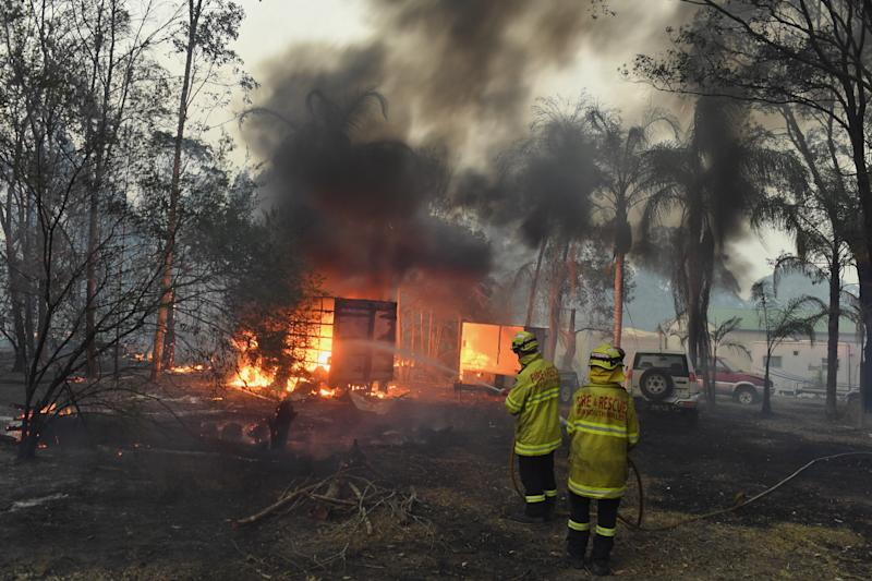 Fire and Rescue NSW responds to a bushfire burning out of control at Hillville on the Mid North Coast of NSW.