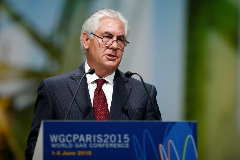 ExxonMobil Chairman and CEO Rex Tillerson speaks during the 26th World Gas Conference in Paris