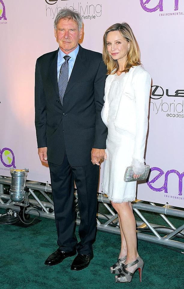 "Harrison Ford, who is also known for his green ways, held hands with Calista Flockhart upon arriving at the gala. Jason Merritt/<a href=""http://www.gettyimages.com/"" target=""new"">GettyImages.com</a> - October 25, 2009"