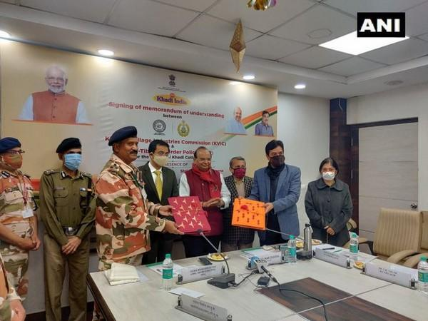 ITBP signed an MoU with Khadi & Village Industries Commission (KVIC) on Wednesday for the supply of 1,71,520 numbers of cotton khadi durries for CAPF. (Photo/ANI)