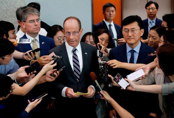 PHOTO: US Assistant Secretary of State for the Bureau of East Asian and Pacific Affairs David Stilwell speaks as South Korea's Deputy Foreign Minister for Political Affairs Yoon Soon-gu listens in Seoul, South Korea on July 17, 2019. (Ahn Young-joon/AFP/Getty Images)