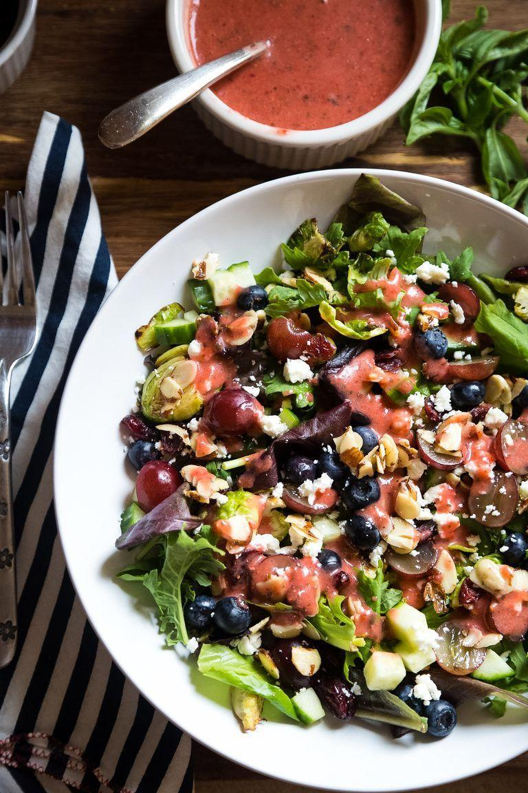 """<p>Make this berry salad for a refreshing first course. The sweet vinaigrette pairs perfectly with the tart Brussels sprouts and kale.</p><p><strong><a href=""""https://www.thepioneerwoman.com/food-cooking/recipes/a94211/brussels-sprout-and-kale-salad-with-strawberry-basil-vinaigrette/"""" rel=""""nofollow noopener"""" target=""""_blank"""" data-ylk=""""slk:Get the recipe."""" class=""""link rapid-noclick-resp"""">Get the recipe.</a></strong></p><p><a class=""""link rapid-noclick-resp"""" href=""""https://go.redirectingat.com?id=74968X1596630&url=https%3A%2F%2Fwww.walmart.com%2Fsearch%2F%3Fquery%3Dsalad%2Bspinners&sref=https%3A%2F%2Fwww.thepioneerwoman.com%2Ffood-cooking%2Fmeals-menus%2Fg35585877%2Feaster-recipes%2F"""" rel=""""nofollow noopener"""" target=""""_blank"""" data-ylk=""""slk:SHOP SALAD SPINNERS"""">SHOP SALAD SPINNERS</a></p>"""