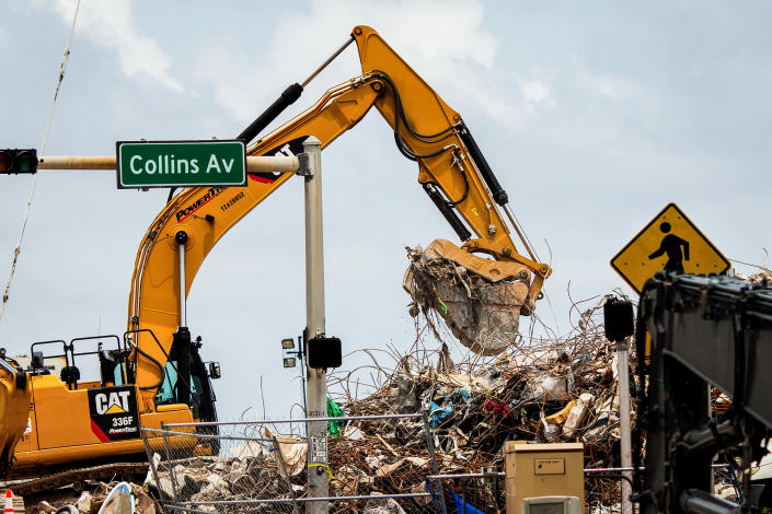 Rubble from the Champlain Towers South collapse continues to be cleared in Surfside, Fla., July 14, 2021. (Scott McIntyre/The New York Times)