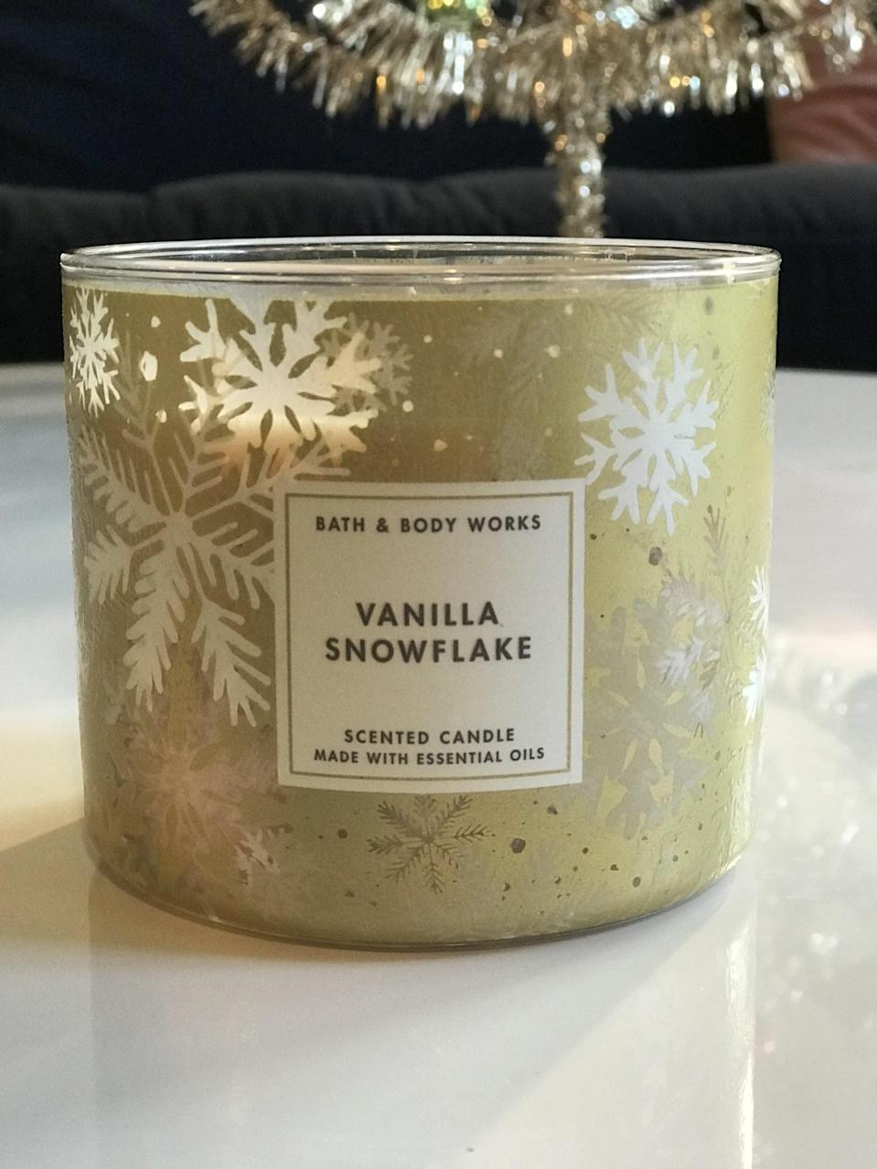 <p><span>Vanilla Snowflake 3-Wick Candle</span> ($15, originally $25)</p> <p><strong>What It Smells Like:</strong> Subtle vanilla, but not too sweet. A perfect balance.</p>
