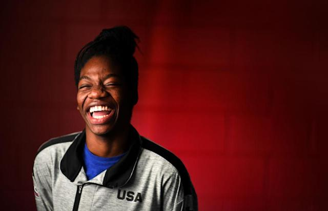 Maame Biney has a lot to smile about and couldn't be happier about her recent win to compete with Team USA. (Photo: Getty Images)
