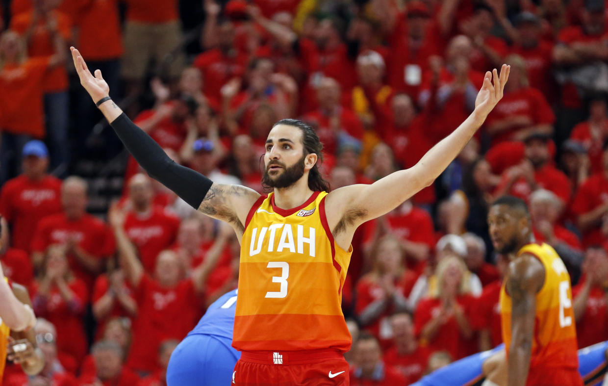 Ricky Rubio, playing in just his third playoff game, lit up the Thunder Saturday, powering a 22-4 second-quarter run and logging a triple-double in a Jazz win.. (AP Photo/Rick Bowmer)