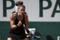 Maria Sakkari of Greece celebrates after winning a point against United States's Sofia Kenin during their fourth round match on day 9, of the French Open tennis tournament at Roland Garros in Paris, France, Monday, June 7, 2021. (AP Photo/Thibault Camus)