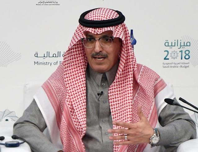 Saudi Arabia Minister of Finance Mohammed al-Jadaan speaks in Riyadh on Dec. 19, 2017