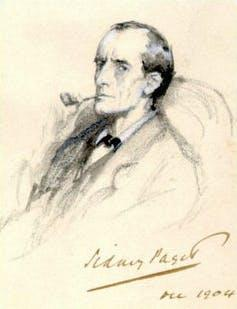 An early sketch of Holmes, smoking a pipe.