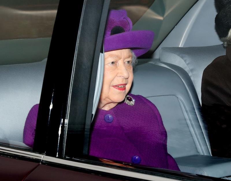 Queen Elizabeth attends Sunday service at the Church of St Mary Magdalene on the Sandringham estate.