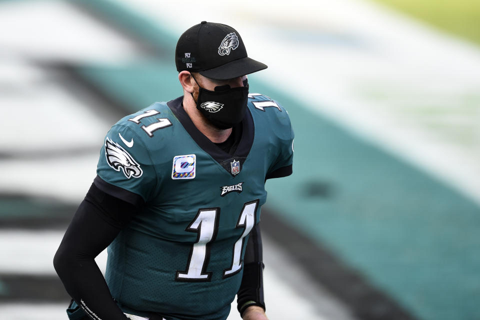 Philadelphia Eagles quarterback Carson Wentz said he needs to be better after four turnovers against the Dallas Cowboys. (AP Photo/Derik Hamilton)