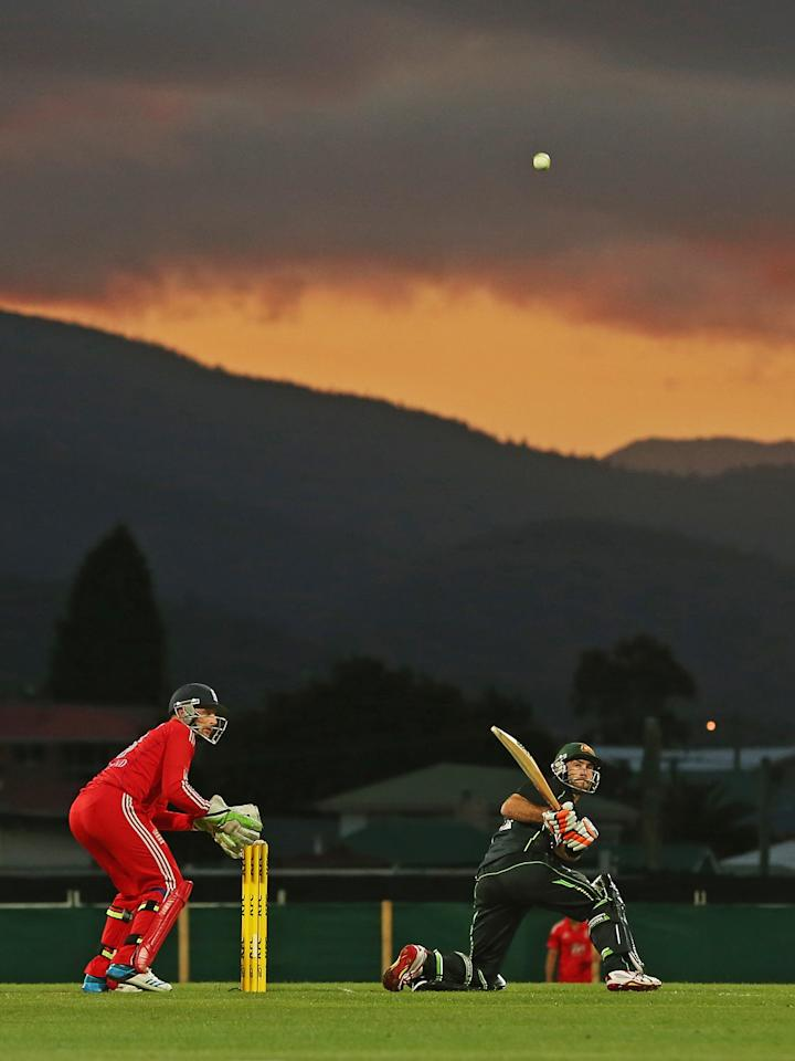 HOBART, AUSTRALIA - JANUARY 29:  Glenn Maxwell of Australia reverse sweeps during game one of the International Twenty20 series between Australia and England at Blundstone Arena on January 29, 2014 in Hobart, Australia.  (Photo by Scott Barbour/Getty Images)