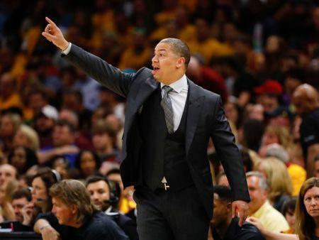 May 19, 2018; Cleveland, OH, USA; Cleveland Cavaliers head coach Tyronn Lue calls a play during the second half against the Boston Celtics in game three of the Eastern conference finals of the 2018 NBA Playoffs at Quicken Loans Arena. Mandatory Credit: Rick Osentoski-USA TODAY Sports