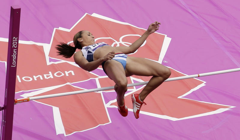 Britain's Jessica Ennis makes an attempt in the High Jump of the women's Heptathlon during the athletics in the Olympic Stadium at the 2012 Summer Olympics, London, Friday, Aug. 3, 2012. (AP Photo/Mark Duncan)