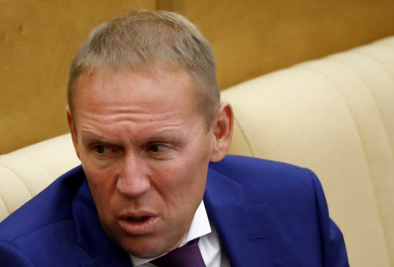 FILE PHOTO: Russian parliamentarian Andrei Lugovoy attends a session of the State Duma in Moscow