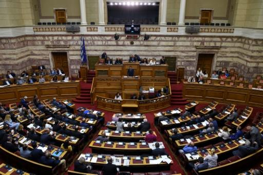 Leader of Greece's main opposition New Democracy party Kyriakos Mitsotakis speaks in parliament in Athens on June 14 to back a censure vote against the government in a bid to block a proposed name deal with Macedonia