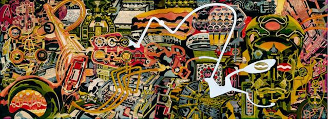 "Jack Kirby's <i>Dream Machine</i> was a key inspiration for the design of <i>Thor: Ragnarok</i>. (Image: <a href=""http://kirbymuseum.org/pubsandmerch/dream-machine-print/"" rel=""nofollow noopener"" target=""_blank"" data-ylk=""slk: the Kirby Museum"" class=""link rapid-noclick-resp""> the Kirby Museum</a>)"