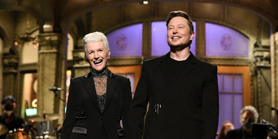 """Elon Musk and his mother Maye Musk during """"Saturday Night Live"""" on May 8."""