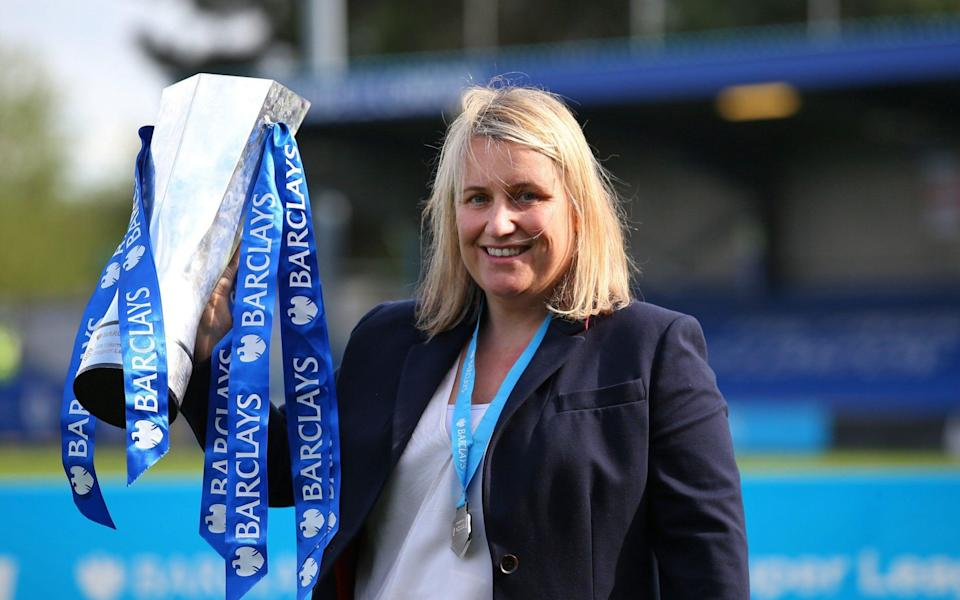Emma Hayes the manager of Chelsea Women lifts the Barclays FA Women's Super League trophy after the Barclays FA Women's Super League match between Chelsea Women and Reading Women at Kingsmeadow on May 09, 2021 in Kingston upon Thame - GETTY IMAGES
