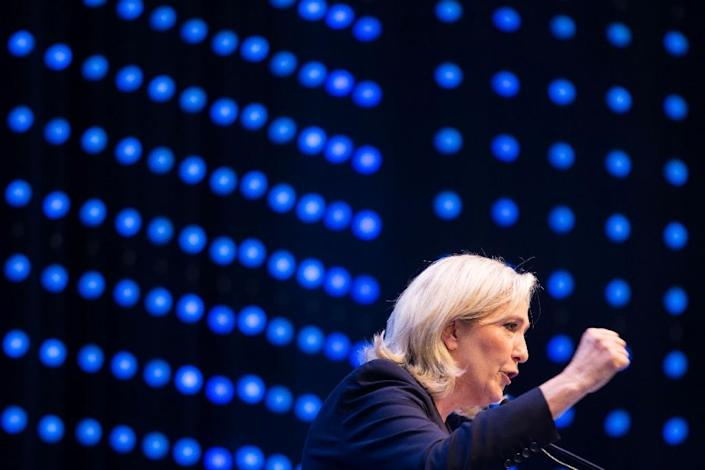 French National Front head Marine Le Pen delivers her speech at a meeting of the EU's far-right Europe for Nations and Freedom bloc, on June 17, 2016 in Voesendorf (AFP Photo/Vladimir Simicek)