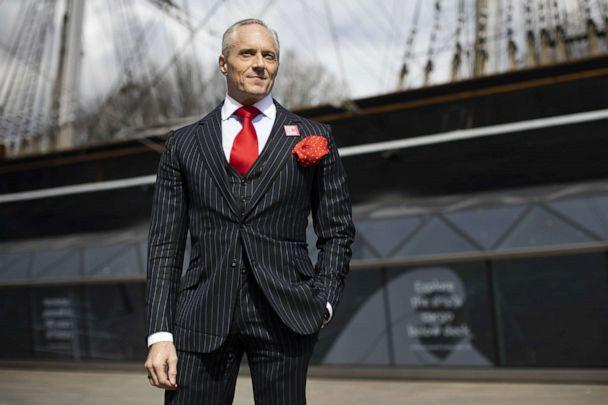 PHOTO: London Mayoral Candidate Brian Rose stands in front of the Cutty Sark while canvassing in Greenwich, South East London, April 15, 2021. (George Cracknell Wright/LNP via Shutterstock)