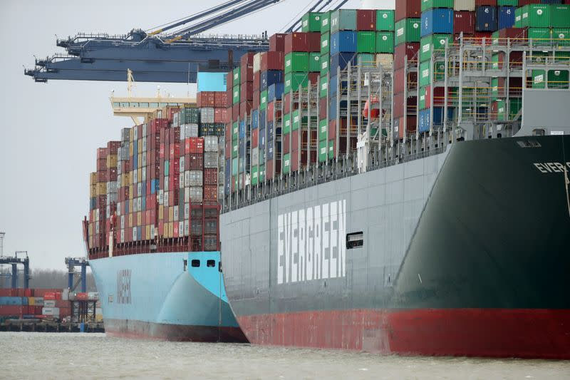 FILE PHOTO: A view of the Port of Felixstowe, as containers are seen aboard the container ship Ever Greet, in Felixstowe