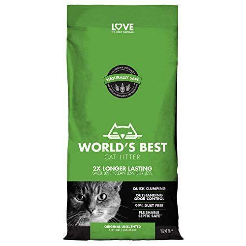 "<p><strong>World's Best Cat Litter</strong></p><p>amazon.com</p><p><strong>$26.99</strong></p><p><a href=""https://www.amazon.com/dp/B007ZPX70I?tag=syn-yahoo-20&ascsubtag=%5Bartid%7C10055.g.35038354%5Bsrc%7Cyahoo-us"" rel=""nofollow noopener"" target=""_blank"" data-ylk=""slk:Shop Now"" class=""link rapid-noclick-resp"">Shop Now</a></p><p>A runner-up to our top overall pick, World's Best Cat Litter is indeed one of the best. Although a bit pricier than some, our pros love that it is unscented and made with corn cob particles instead of clay. <strong>This clay alternative option clumps easily to make cleanups a breeze </strong><strong>and claims to be 99% dust-free.</strong> The manufacturers claim claim that it is flushable and septic-safe, which was confirmed in our Lab tests.</p>"