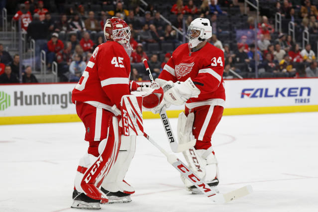 Detroit Red Wings goaltender Jonathan Bernier (45) is goaltender Eric Comrie (34) in the third period of an NHL hockey game against the Pittsburgh Penguins, Saturday, Dec. 7, 2019, in Detroit. (AP Photo/Paul Sancya)