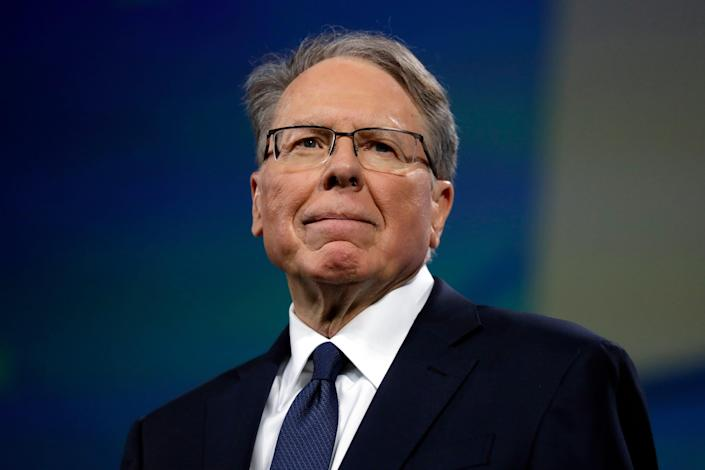 In this April 26, 2019, photo NRA executive vice president and CEO Wayne LaPierre attends the National Rifle Association annual convention in Indianapolis.