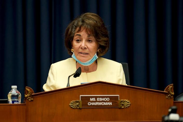 Rep. Anna Eshoo makes an opening statement during the Thursday hearing. (Greg Nash / Pool via Reuters)
