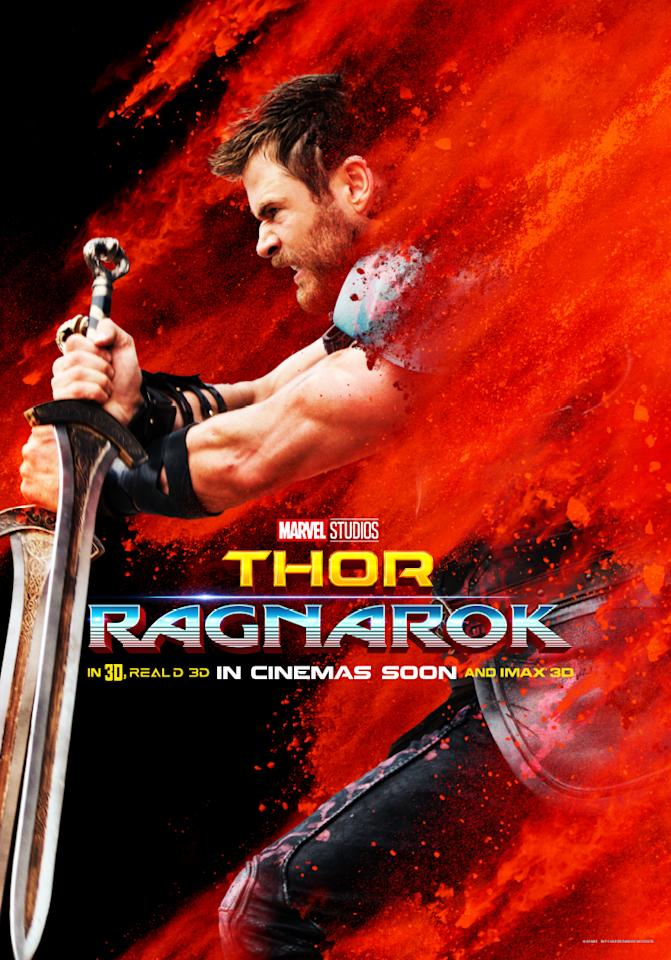 <p>It's the Mighty Thor – Chris Hemsworth returns as one of the big screen's original Avengers. But we'll be seeing a very different Thor in 'Thor: Ragnarok'. Asgard has been invaded, his hammer, Mjolnir, has been destroyed, and Thor has been banished to the planet Sakaar. Now, he's forced to take part in gladiatorial combat for the entertainment of the Grandmaster… but can he break free and find his way back to Asgard?<br /> (Picture Credit: Marvel) </p>