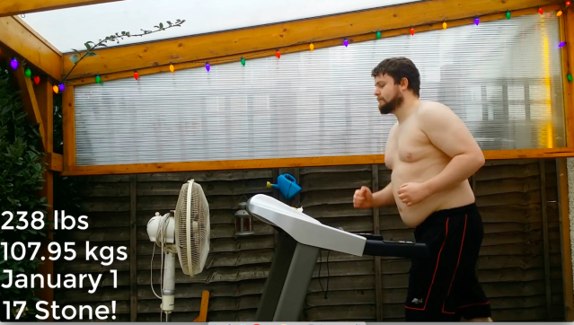 Billy Richards recorded his weight loss journey in a time-lapse video [Photo: Caters]