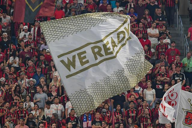 Shop Atlanta United FC gear in the Yahoo Fanatics shop. (Photo by Rich von Biberstein/Icon Sportswire via Getty Images)