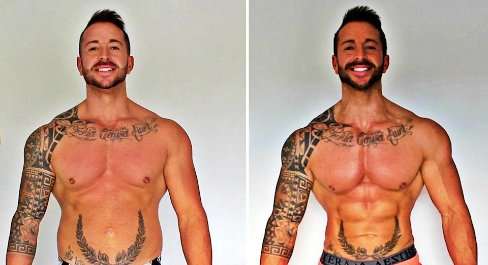 Ryan ate McDonald's for 30 days in a row. Left, before, and right, after. [Photo: Getty]