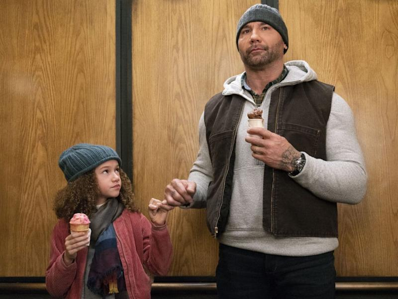 """Chloe Coleman and Dave Bautista team up in """"My Spy""""."""