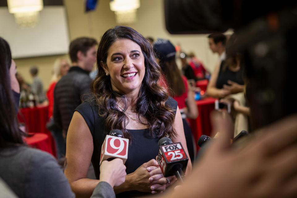 U.S. House candidate Stephanie Bice talks to the media at the Edmond Conference Center in Edmond, Okla., Tuesday, Nov. 3, 2020. U.S. Rep. Kendra Horn, an Oklahoma City lawyer, faced Republican state Sen. Bice for the Oklahoma City-area House seat. (AP Photo/Garett Fisbeck)