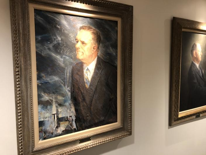 A portrait of James Webb, the NASA administrator from 1961 to 1968, at the agency's headquarters in Washington, D.C. (Photo: Michael Walsh/Yahoo News)
