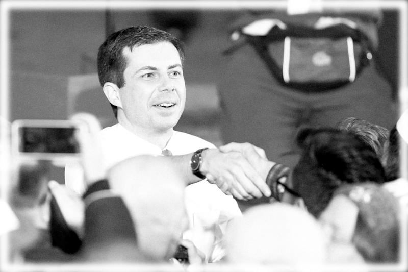 Pete Buttigieg shakes hands with supporters after he announced that he will seek the Democratic presidential nomination during a rally in South Bend, Ind., Sunday, April 14, 2019. (Photo: Michael Conroy/AP, digitally enhanced by Yahoo News)