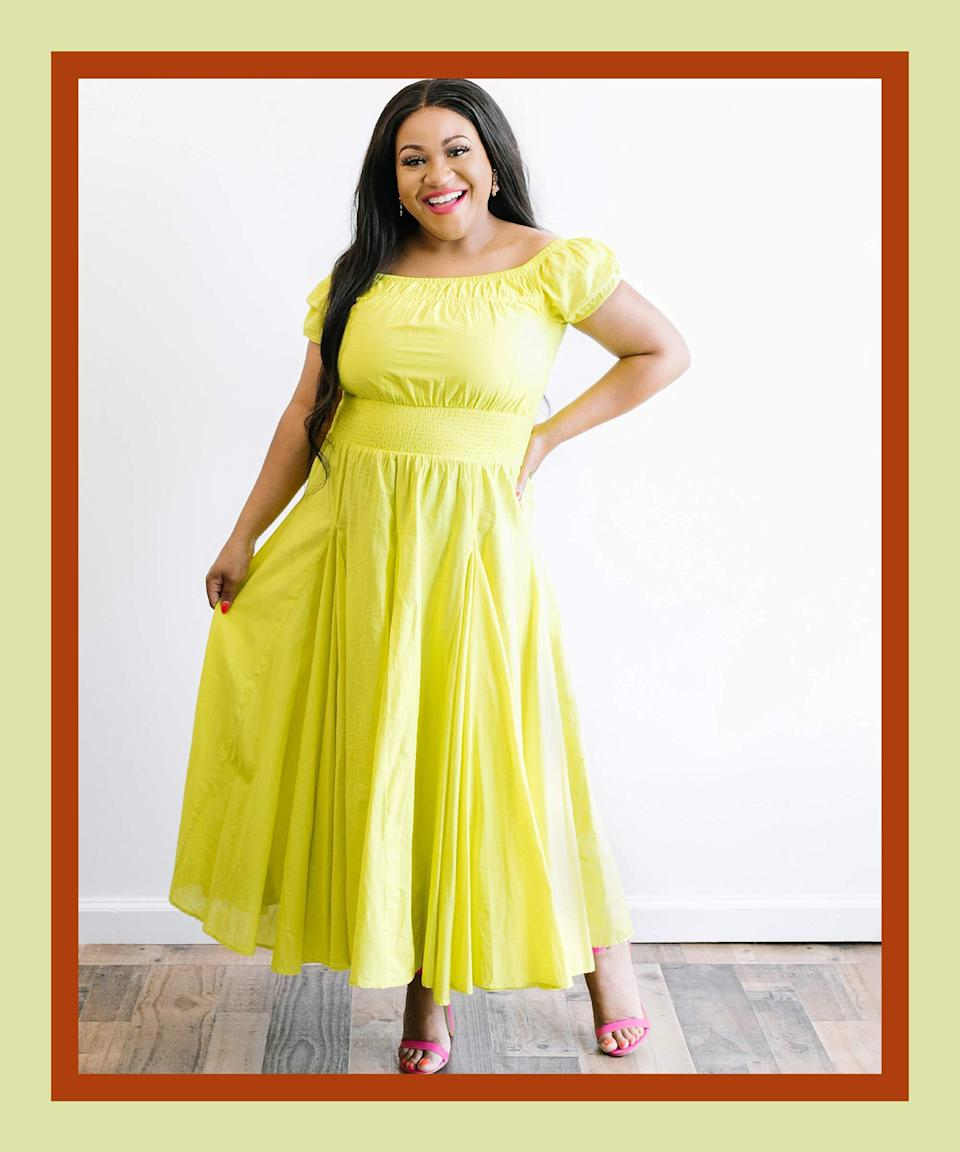 """<strong>The Stand-Out-In-A-Crowd Dress</strong><br><br>You might be questioning why we've included an item this memorable, but summer logic dictates that fewer clothes = fewer opportunities to flex. And with this ultra-flattering maxi in a juicy lime, you'll definitely stick around in any passerby's mind. Play with accessories and makeup in complementary colors — you might find that this shade goes with way more than you previously thought.<br><br><br><strong>INC International Concepts</strong> Cotton Smocked-Waist Midi Dress, $, available at <a href=""""https://go.skimresources.com/?id=30283X879131&url=https%3A%2F%2Fwww.macys.com%2Fshop%2Fproduct%2Finc-cotton-smocked-waist-midi-dress-created-for-macys%3FID%3D12002412%26CategoryID%3D68514%26swatchColor%3DLime%2520Shock%26ranMID%3D3184%26ranEAID%3DQFGLnEolOWg%26ranSiteID%3DQFGLnEolOWg-8HJY4QaeqRduyccPXQoZ_A%26LinkshareID%3DQFGLnEolOWg-8HJY4QaeqRduyccPXQoZ_A%26m_sc%3Daff%26PartnerID%3DLINKSHARE%26cm_mmc%3DLINKSHARE-_-5-_-63-_-MP563%26LSNSUBSITE%3DOmitted_QFGLnEolOWg"""" rel=""""nofollow noopener"""" target=""""_blank"""" data-ylk=""""slk:Macy's"""" class=""""link rapid-noclick-resp"""">Macy's</a><br><br><strong>INC International Concepts</strong> Gold-Tone Multicolor Flower Drop Earrings, $, available at <a href=""""https://go.skimresources.com/?id=30283X879131&url=https%3A%2F%2Fwww.macys.com%2Fshop%2Fproduct%2Fgold-tone-multicolor-flower-drop-earrings-created-for-macys%3FID%3D11815273%26CategoryID%3D55352%26ranMID%3D3184%26ranEAID%3DQFGLnEolOWg%26ranSiteID%3DQFGLnEolOWg-f1npTaY3W8gkQFbsBwG.4Q%26LinkshareID%3DQFGLnEolOWg-f1npTaY3W8gkQFbsBwG.4Q%26m_sc%3Daff%26PartnerID%3DLINKSHARE%26cm_mmc%3DLINKSHARE-_-5-_-63-_-MP563%26LSNSUBSITE%3DOmitted_QFGLnEolOWg"""" rel=""""nofollow noopener"""" target=""""_blank"""" data-ylk=""""slk:Macy's"""" class=""""link rapid-noclick-resp"""">Macy's</a><br><br><strong>MAC</strong> Powder Kiss Liquid Lipcolour, $, available at <a href=""""https://go.skimresources.com/?id=30283X879131&url=https%3A%2F%2Fwww.macys.com%2Fshop%2Fproduct%2Fmac-powder-kiss-li"""