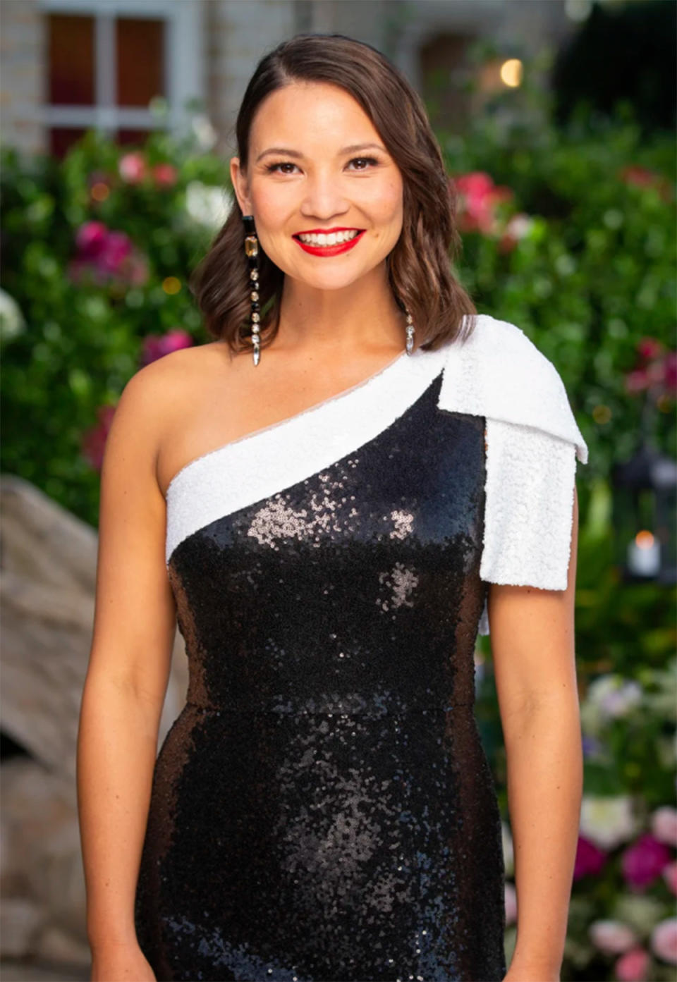 The Bachelor Australia 2021 contestant Chanel Tang, 34, Flight Manager wearing a black sequin one-shoulder dress