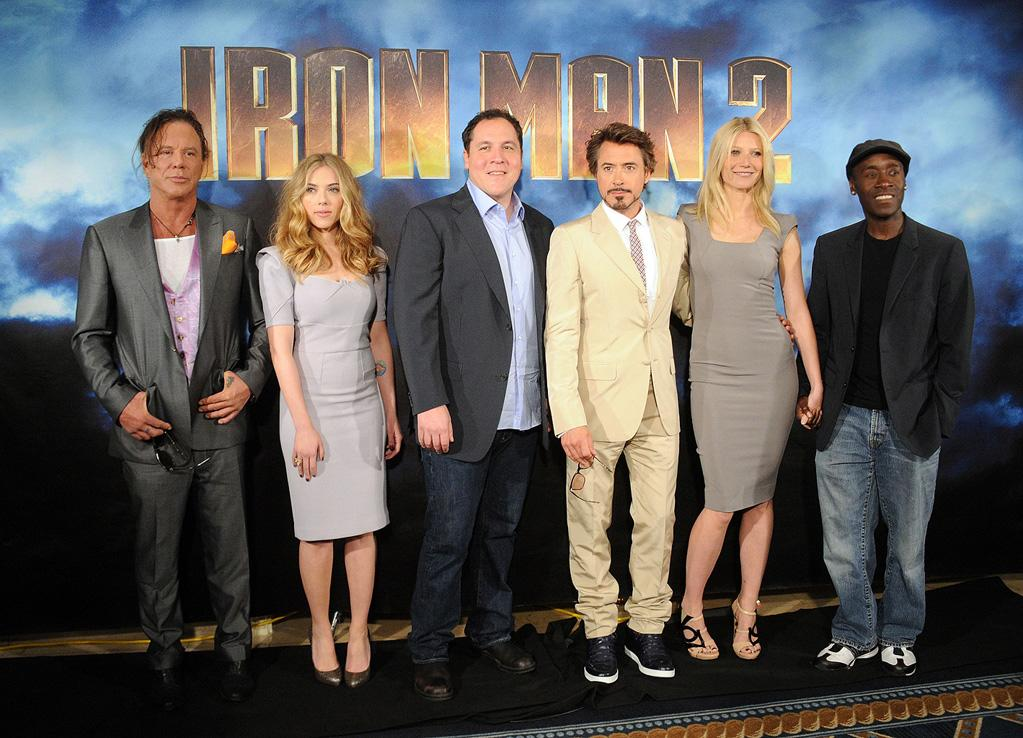 """<a href=""""http://movies.yahoo.com/movie/contributor/1800010853"""">Mickey Rourke</a>, <a href=""""http://movies.yahoo.com/movie/contributor/1800022348"""">Scarlett Johansson</a>, <a href=""""http://movies.yahoo.com/movie/contributor/1800018685"""">Jon Favreau</a>, <a href=""""http://movies.yahoo.com/movie/contributor/1800010914"""">Robert Downey Jr.</a>, <a href=""""http://movies.yahoo.com/movie/contributor/1800018601"""">Gwyneth Paltrow</a> and <a href=""""http://movies.yahoo.com/movie/contributor/1800020725"""">Don Cheadle</a> pose during Paramount Pictures & Marvel Entertainment's <a href=""""http://movies.yahoo.com/movie/1810026429/info"""">Iron Man 2</a> photo call held at the Four Seasons Hotel on April 23, 2010 in Los Angeles, California."""