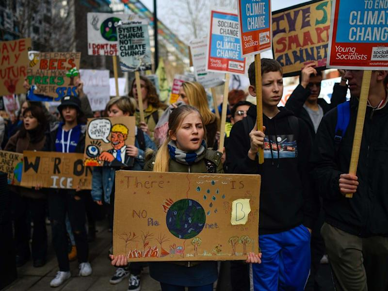 Children take part in a climate strike demo on February 14, 2020 in London: Getty