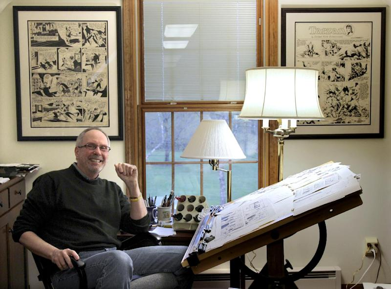 In this April 10, 2012 photo, cartoonist Tom Batiuk, creator of the successful comic strip Funky Winkerbean, poses for a portrait in his studio at his Medina, Ohio home. Like aging baby boomers, the cartoon strip Funky Winkerbean and its creator Batiuk have turned gray with life's ups and downs in a 40-year run on the funny pages. (AP Photo/Amy Sancetta)