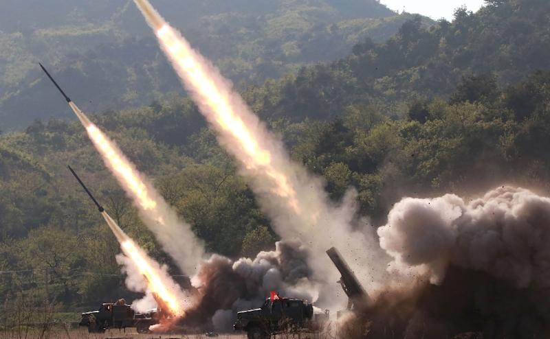 This May 9, 2019 picture released from North Korea's official Korean Central News Agency (KCNA) shows rocket launchers firing during a drill by units of the Korean People's Army