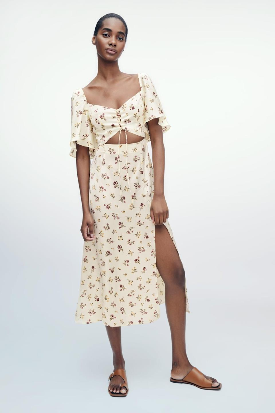 <p>Pair this <span>Zara Floral Print Dress</span> ($70) with a jean jacket.</p>