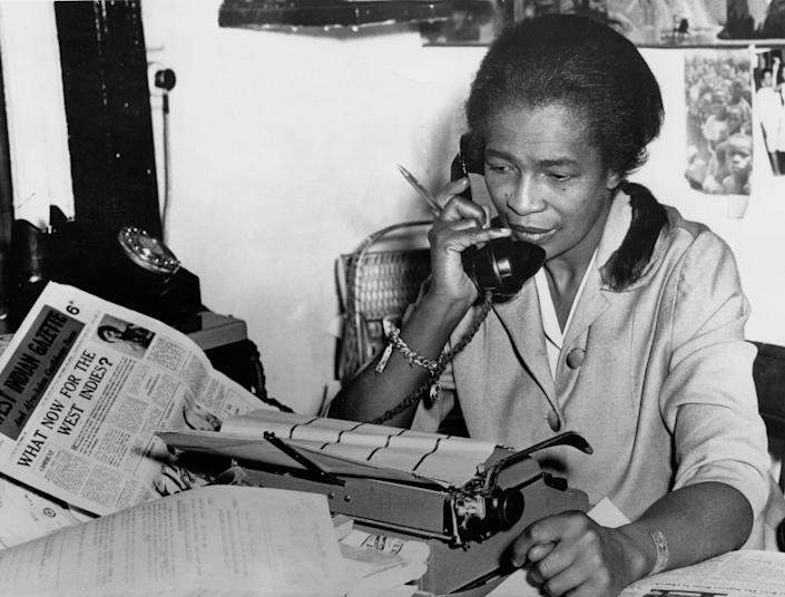 Trinidad-born journalist and activist Claudia Jones at the Brixton, London, offices of the newspaper she founded, The West Indian Gazette  in 1962. | FPG/Archive Photos—Getty Images