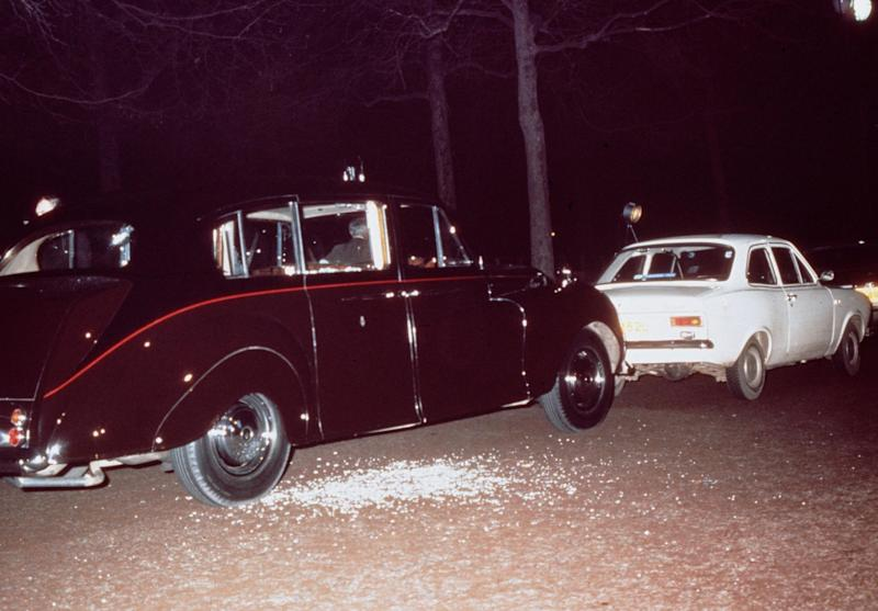Princess Anne's Rolls Royce and Ball's white Ford Escort after the attempted kidnapping (Getty Images)
