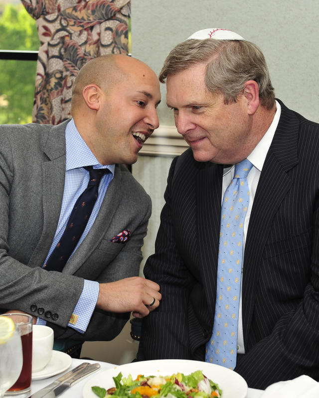 WASHINGTON, DC - APRIL 4: In this handout photograph provided by Rabinowitz/Dorf, Alan van Capelle, Chief Executive Officer, Bend the Arc: A Jewish Partnership for Justice (L), shares some thoughts with U.S. Secretary of Agriculture Tom Vilsack at a mock Passover seder meal at the US Department of Agriculture headquarters on April 4, 2012 in Washington, D.C. The second annual Food and Justice Seder, co-hosted by Bend the Arc: A Jewish Partnership for Justice and The White House co-sponsored by Empire Kosher. The seder focused on the place where food, history, values and culture intersect and explored hunger and food access, labor conditions for food workers, environmentally sustainable production and consumption, and individual and communal responsibilities. Passover formally begins Friday night. (Photo by Ron Sachs/Rabinowitz-Dorf Communications via Getty Images)